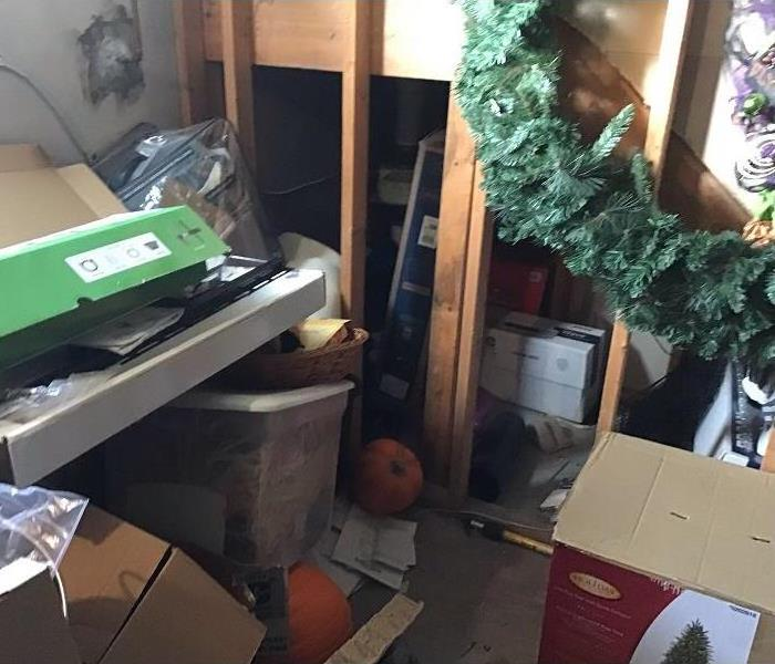 A basement full of personal contents affected by sewage