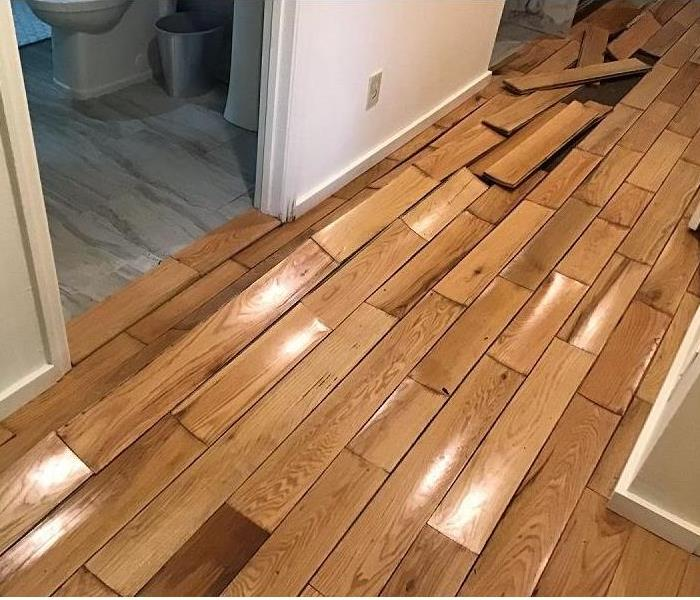 A buckled and lifted hardwood floor inside a home