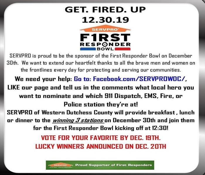 A flier promoting readers to nominate their local first responders for SERVPRO's First Responder Bowl