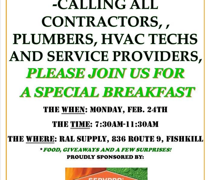 A flier inviting all area contractors to breakfast