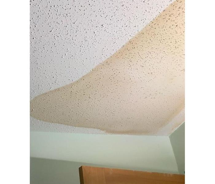 A section of a water stained popcorn ceiling inside a home