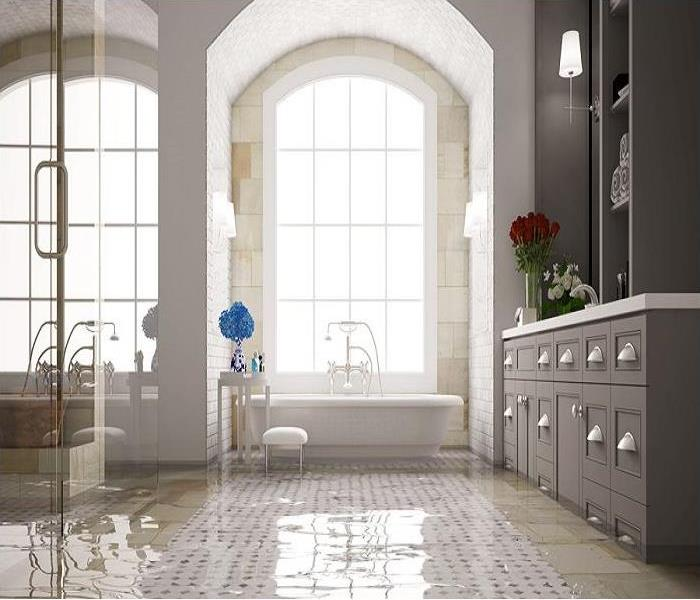A large bathroom with an inch of water covering the whole floor.