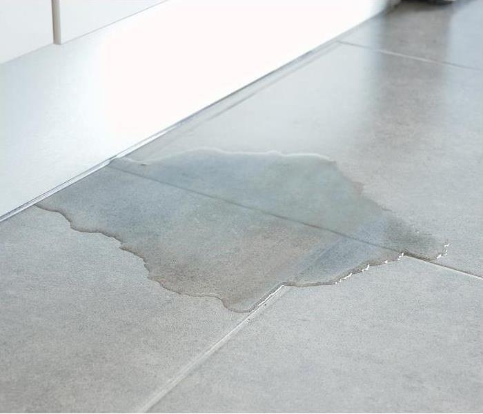 Water leaking and pooling on white kitchen tile