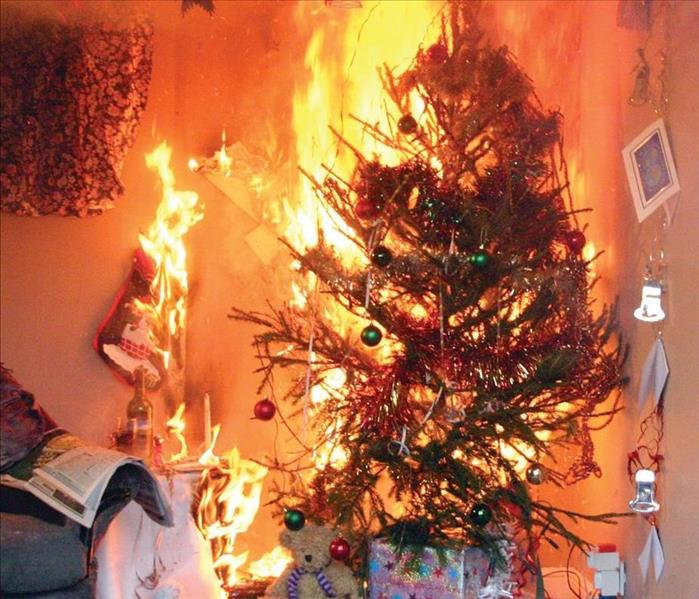 A Christmas tree on fire surrounded by personal items